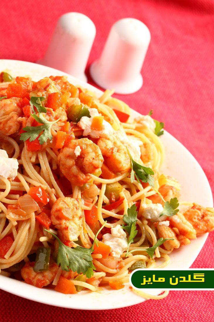 آموزش-طبخ-اسپاگتی-با-سس-میگو-و-سبزیجات
