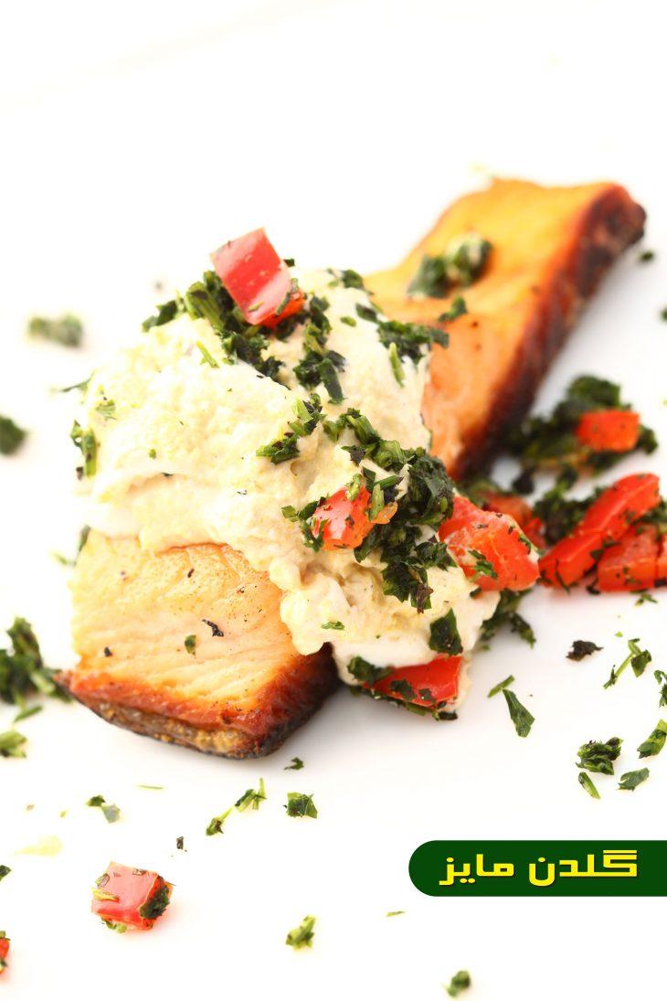 آموزش-طبخ-ماهی-سالمون-سرخ-کرده-با-حموص-و-تبوله