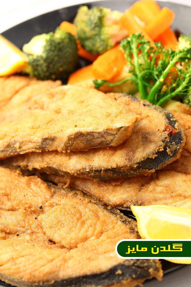 آموزش-طبخ-شنسل-ماهی-شیر-با-کلم-بروکلی-و-سبزیجات-تفت-داده-و-بادمجان