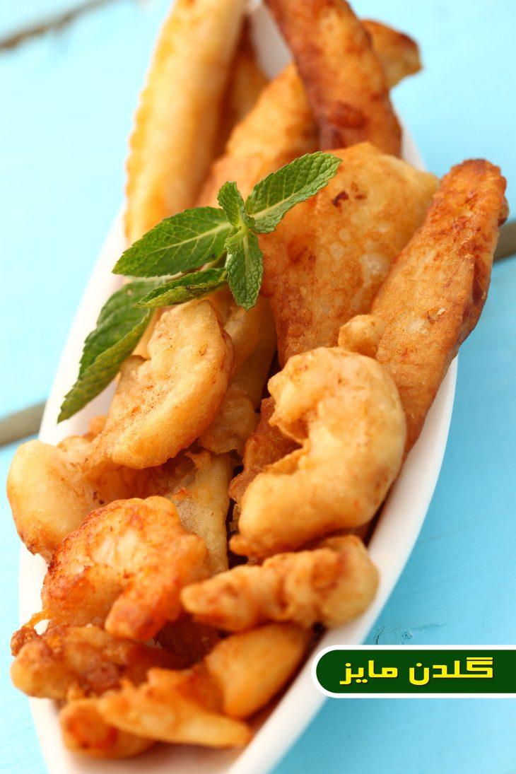 آموزش-طبخ-ماهی-و-میگو-با-سبزیجات-تمپورا
