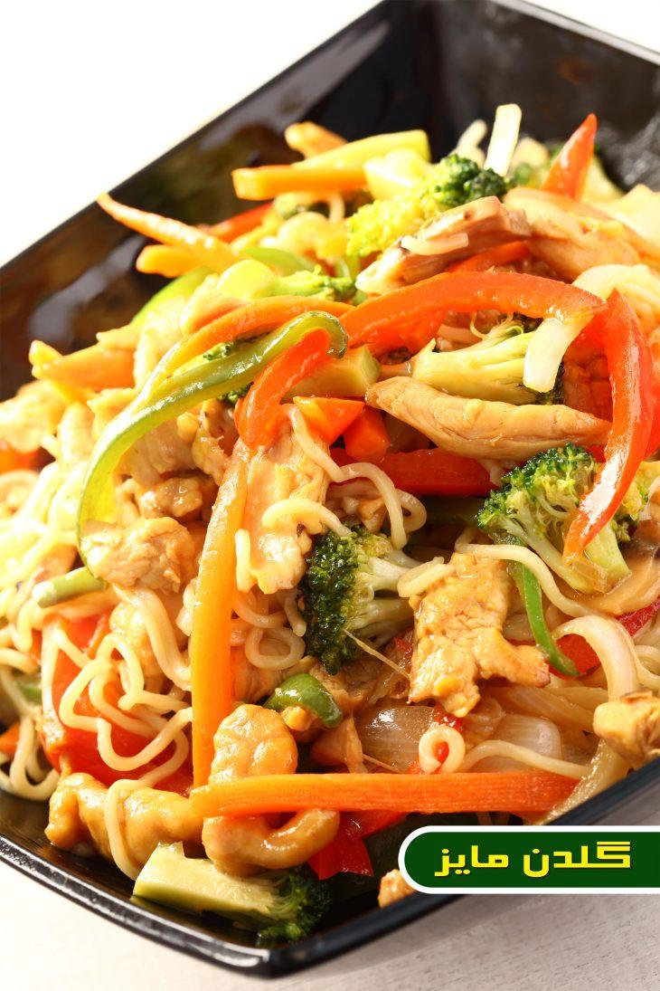 آموزش-طبخ-خوراک-نودل-مرغ-و-سبزیجات